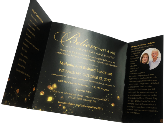 Invitation, Metallic Foil Printing, Tri-fold, Die-Cut, Digital Printing, Print Sample