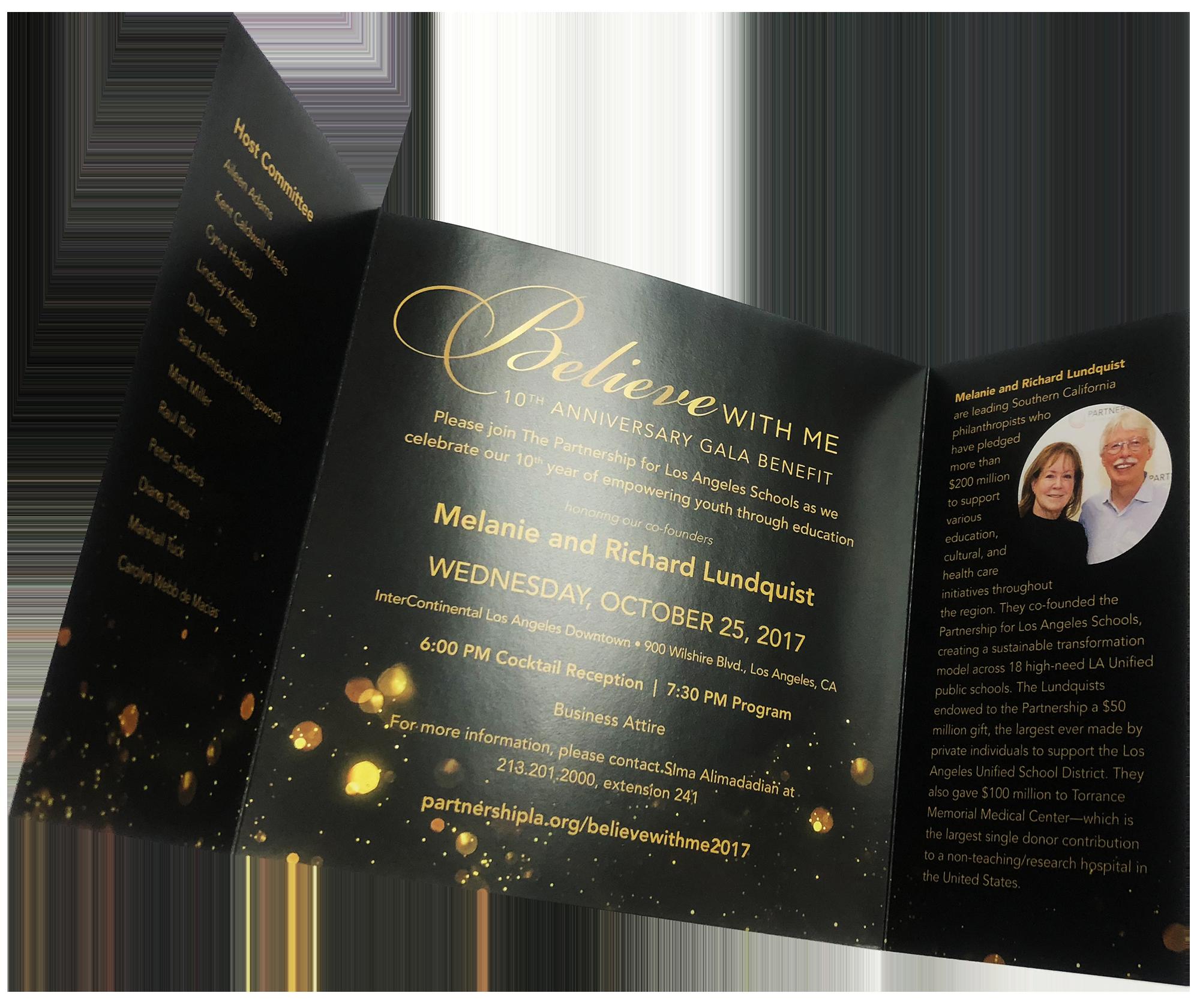 invitation metallic foil printing tri fold die cut digital