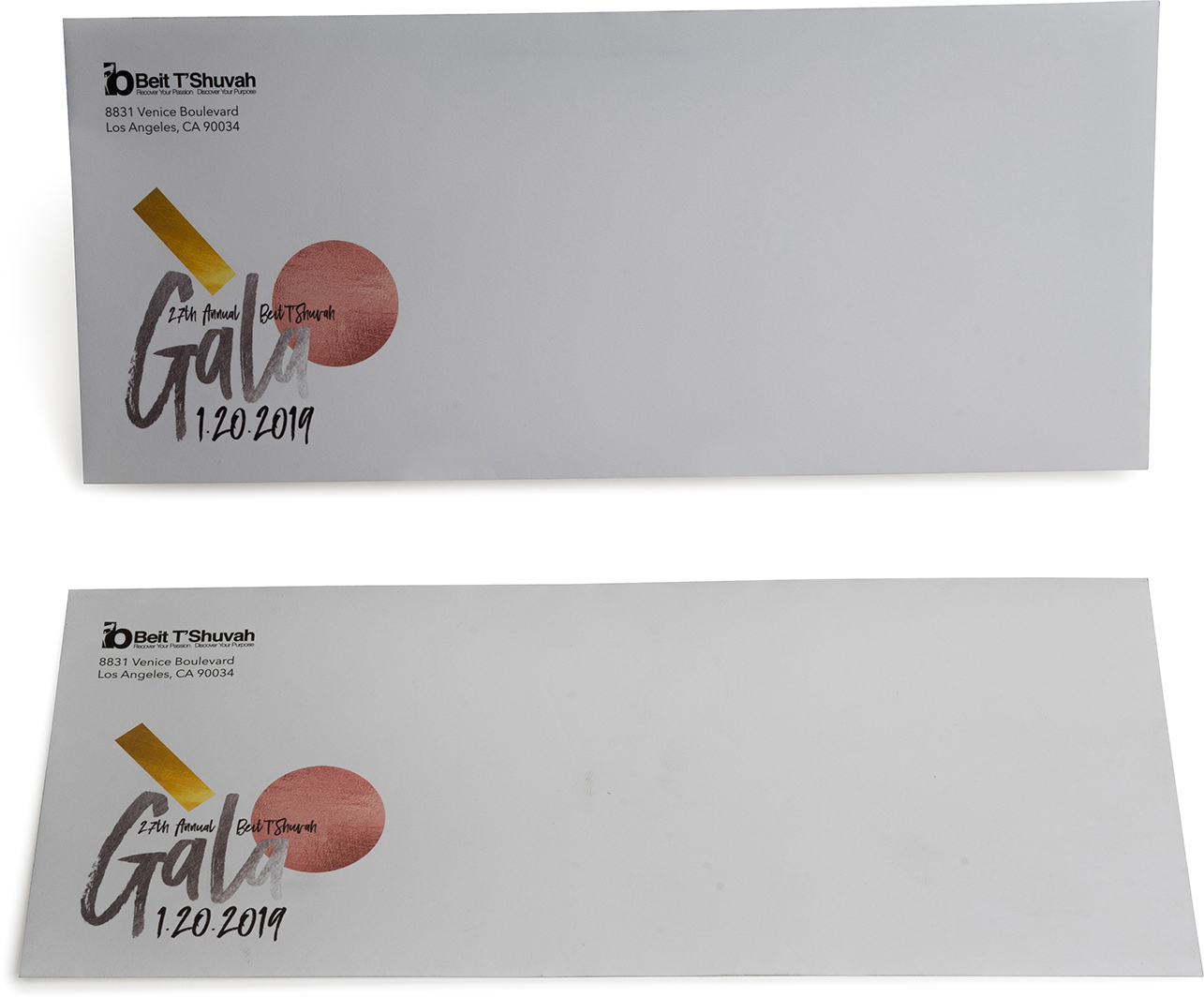 Gala event custom envelope, metallic inks, digital