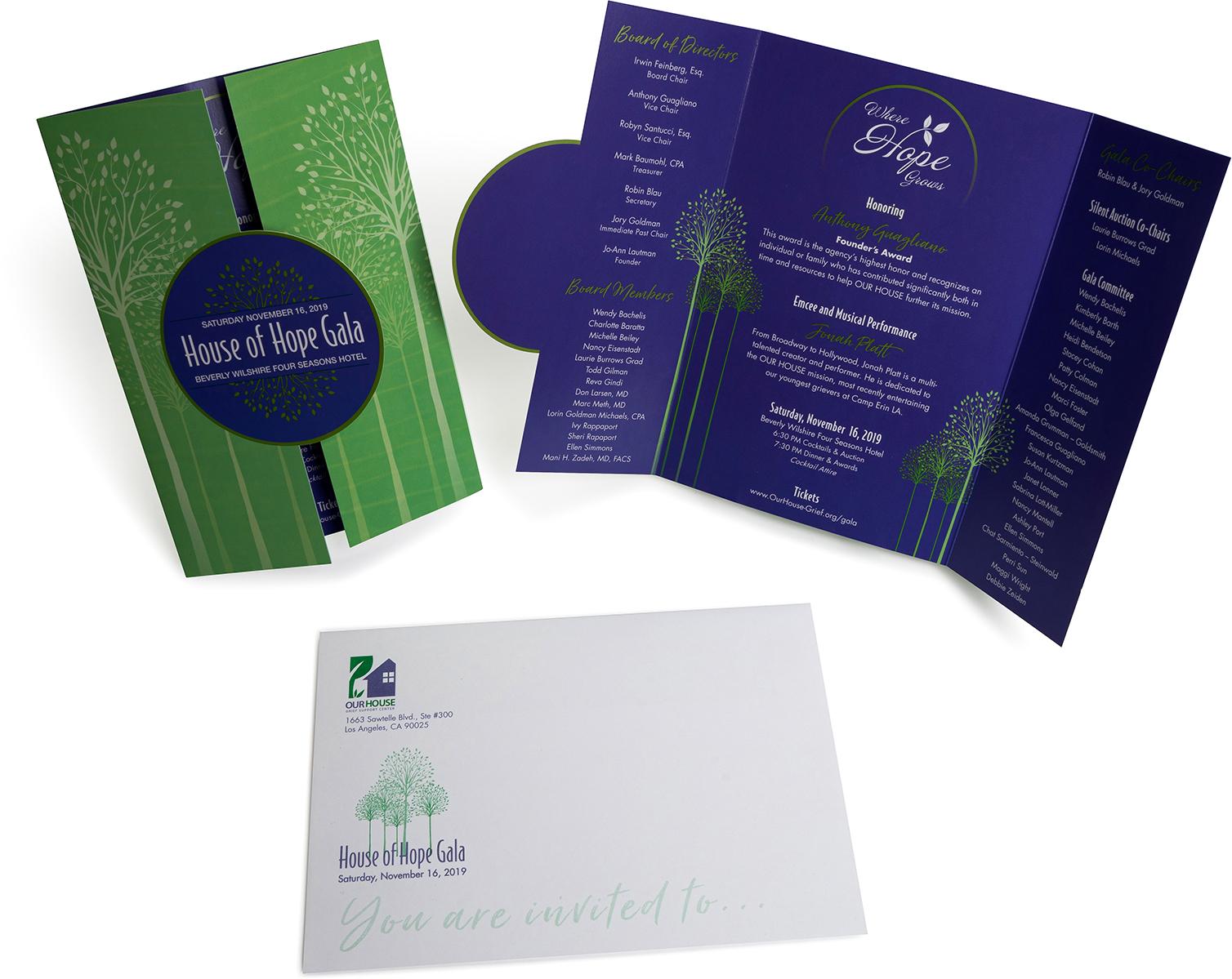 Hope digital, invitations, die cut, custom fold