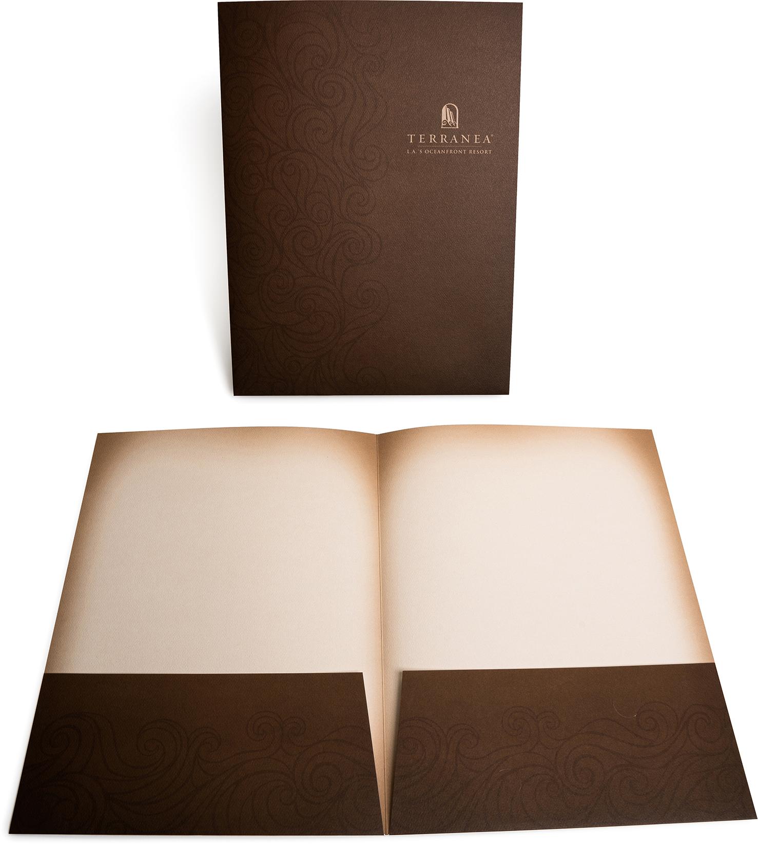 offset, presentation folder, die cut, metallic ink