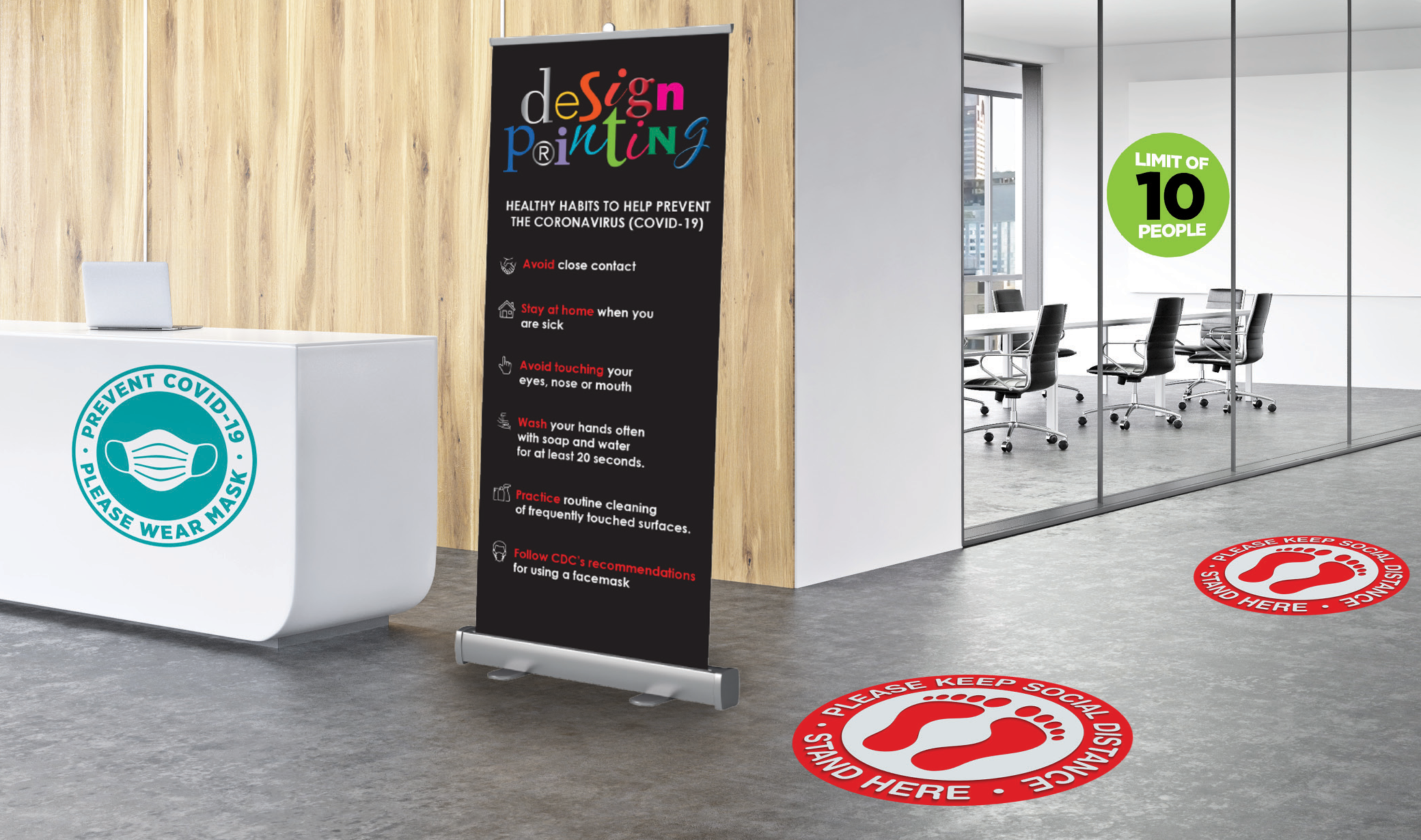 COVID-19 signage, floor decals, window clings, retractable banner