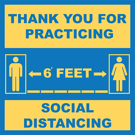 6' Apart Social Distancing Floor Decal (SQUARE)   COVID-19