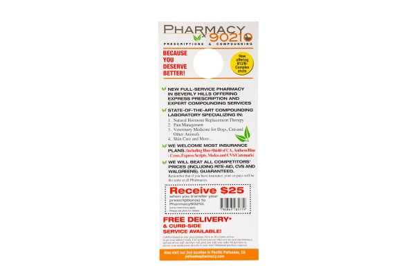 Pharmacy Health Care Prescription Delivery Hang Tag