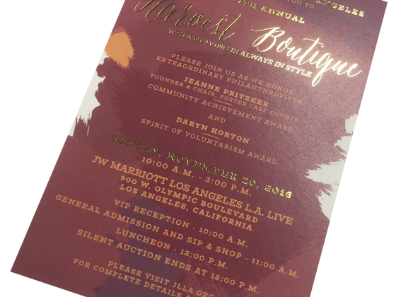 Invitation Print Sample - Harvest Boutique - Junior League of Los Angeles