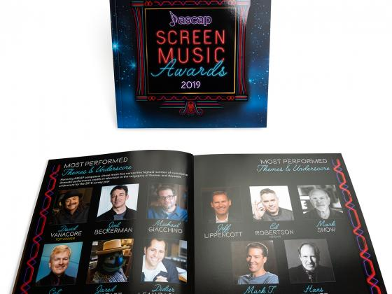 Screen Music perfect bind, ad book, tribute book, offset