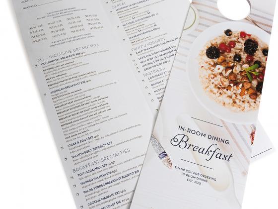 Restaurant menu, door hangers, digital