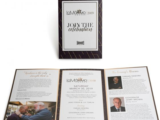 LA offset invitations, die cut, metallic inks