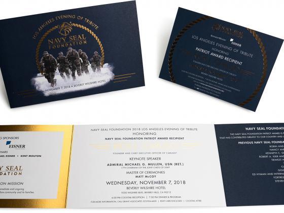 Navy digital invitations, reply card, table card, metallic inks