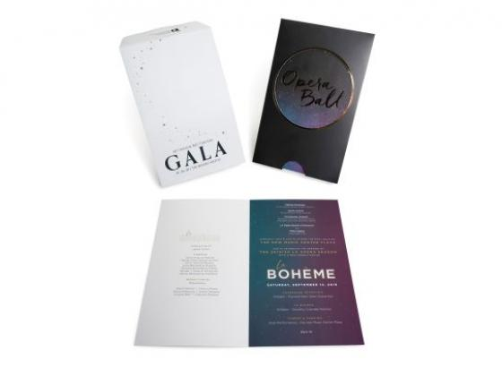 Nonprofit Gala Event Invitation, Die Cut, Custom Envelope, Metallic Ink, Offset Printing